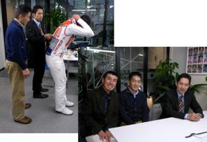 右下:左から『こ~ぢ』さん、当社社長の中田、浅田 顕監督